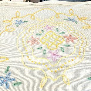 "Vtg Floral Chenille Full Queen Bedspread 89"" X 103"